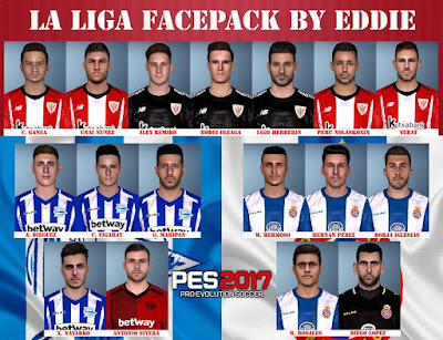 PES 2017 Premier League Facepack 2018/2019 by Eddie Facemaker Facepack for Athletic Bilbao, Deportivo Alaves & RCD Espanyol
