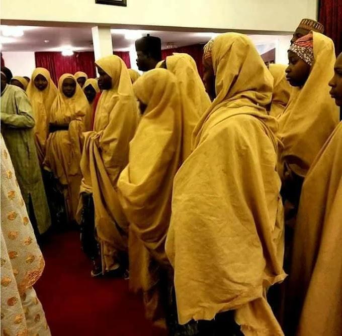 Photos: Released 101 Dapchi Girls arrives Abuja to see President Buhari