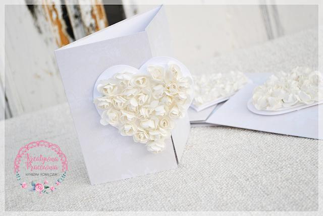 zaproszenie ślubne z sercem, handmade, scrapbooking