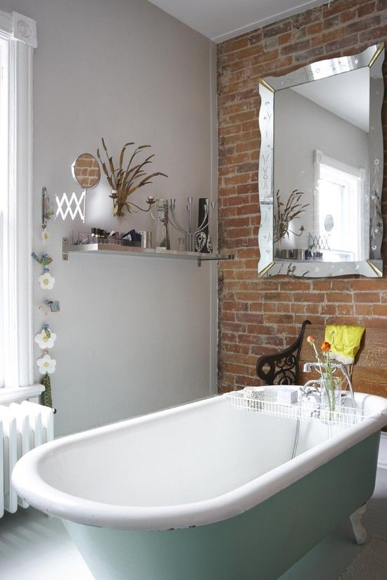 Exposed brick in the bathroom