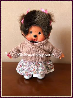 kiki monchhichi pull tricot cache-coeur handmade knitting fait-main poupée vintage
