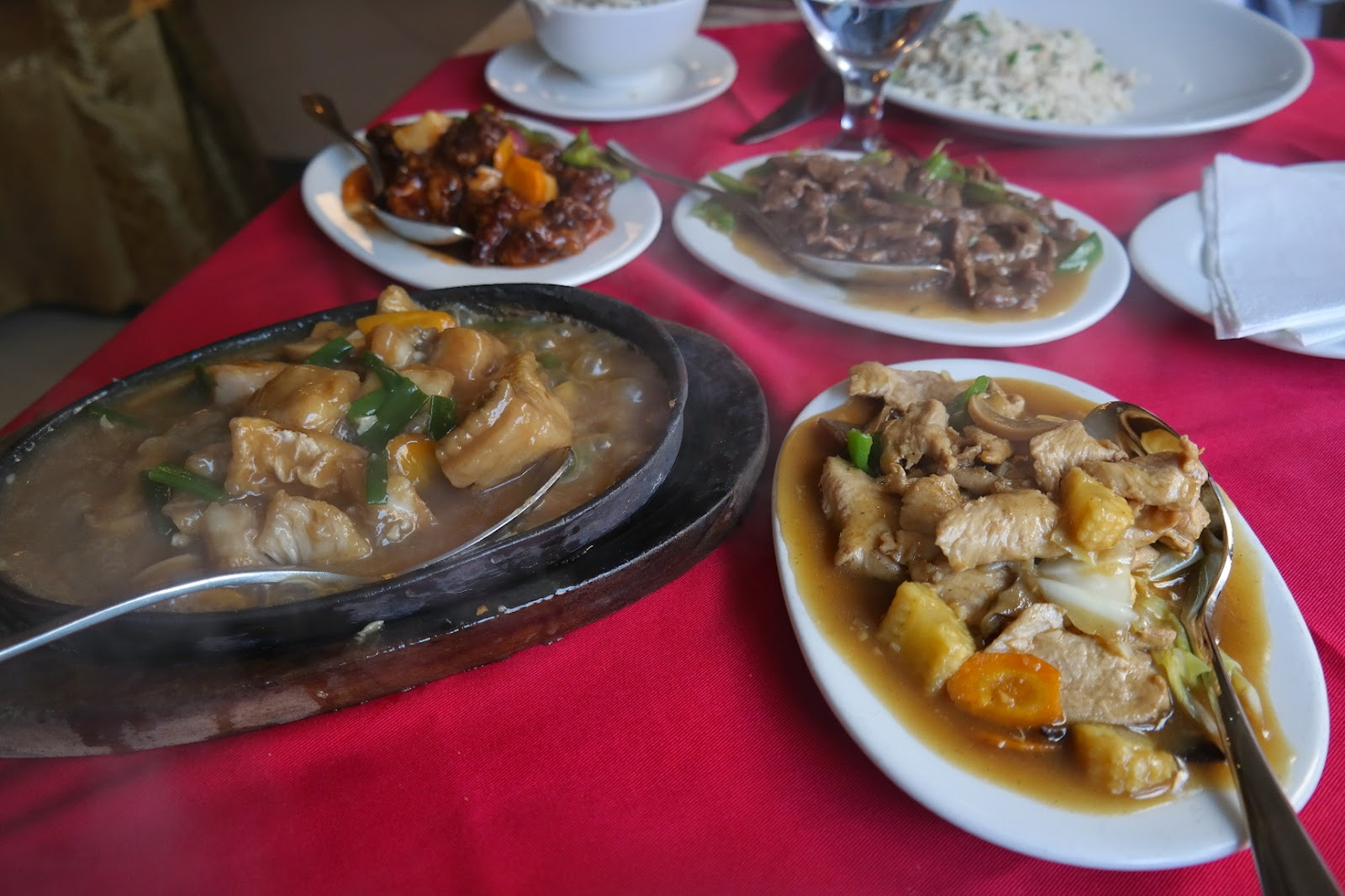sweet and sour pork, chicken and vegetables, shredded beef