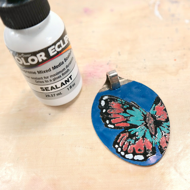 How to Seal a Painted Butterfly Pendant with ColorBox Color Eclipse Sealant