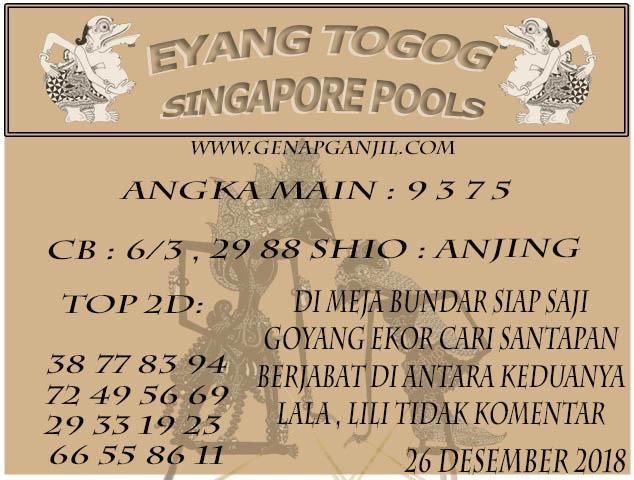 Prediksi Eyang Togog Singapore Pools 26 DESEMBER 2018