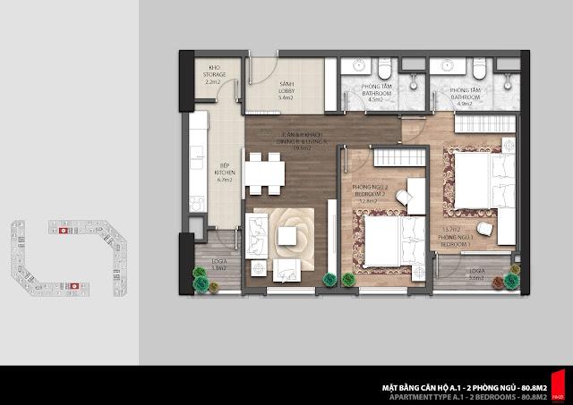 Thiết kế căn A.1 diện tích 80,8m2 chung cư The Emerald