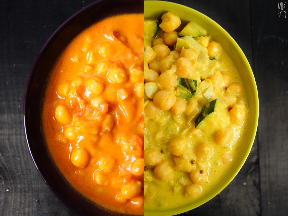 przepis na domowe, wegańskie curry z ciecierzycą, mlekiem kokosowym, pomidorami, cukinią | przepis na żołte curry | przepis na czerwone curry