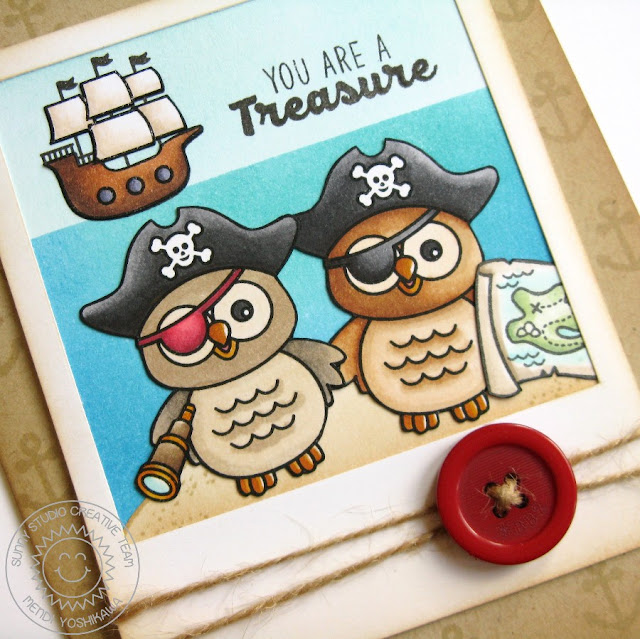 Sunny Studio Stamps: Happy Owl-o-ween & Pirate Pals Card by Mendi Yoshikawa
