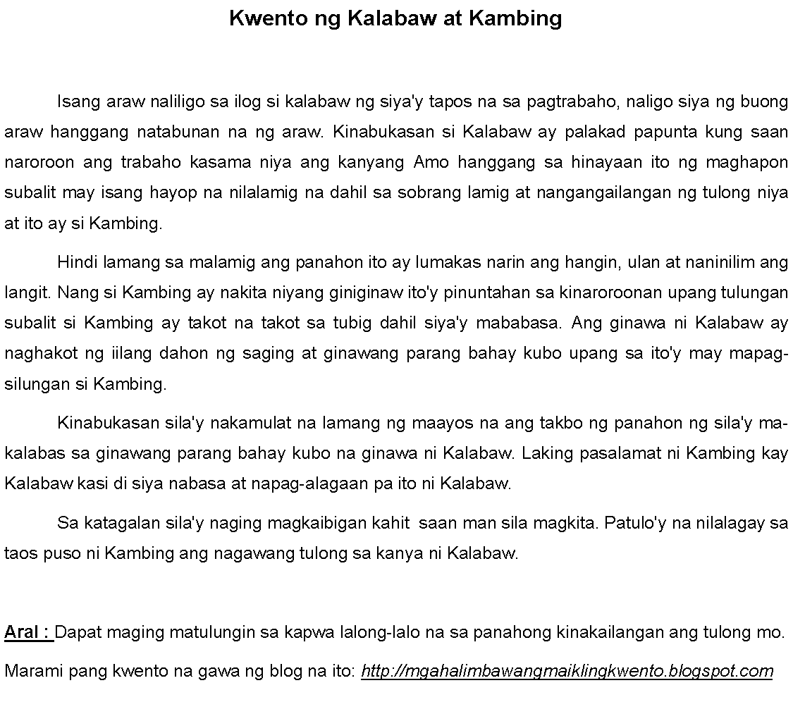 Example Of Short Stories For Kids Tagalog