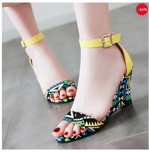Sandale de zi de femei cu talpă platformă și galbene cu imprimeu color