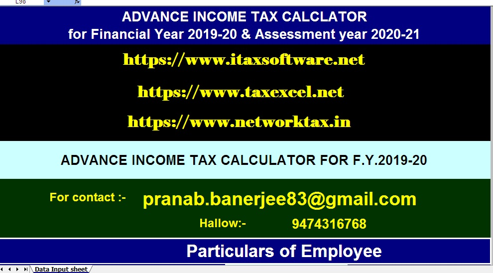 Automated Advance Income Tax Calculator for the Financial Year 2019