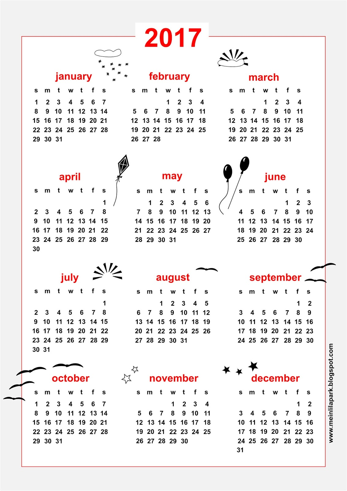 Free Printable 2017 Calendar Sky Themed Freebie