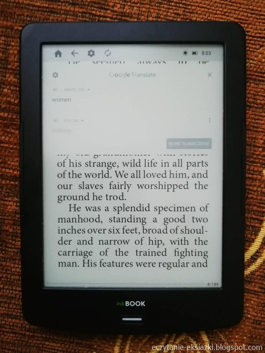 inkBOOK LUMOS - Okno aplikacji Google Translate z tłumaczeniem