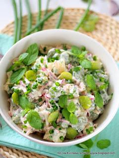 salatka z ziemniakow i bobu, bob, mieta, salatki jarzynowe, salatka warzywna