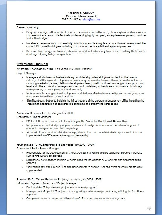 normal project manager resume format in word free