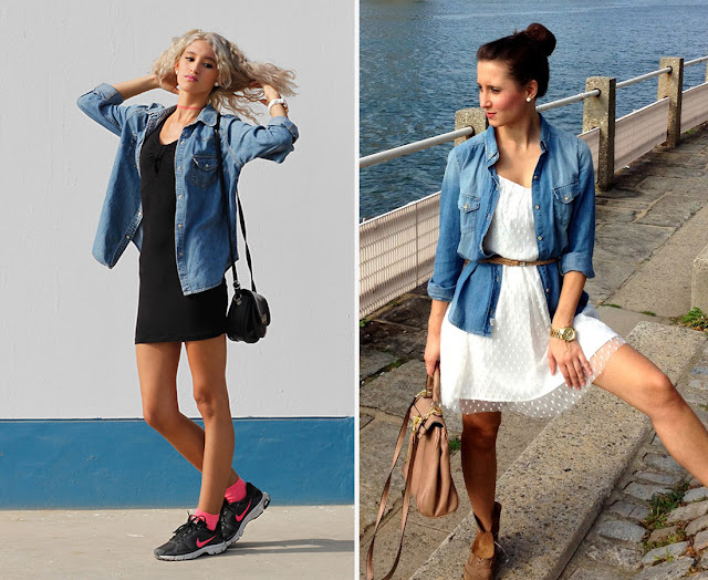 Mix and Match Your Denim Shirt With A Dress