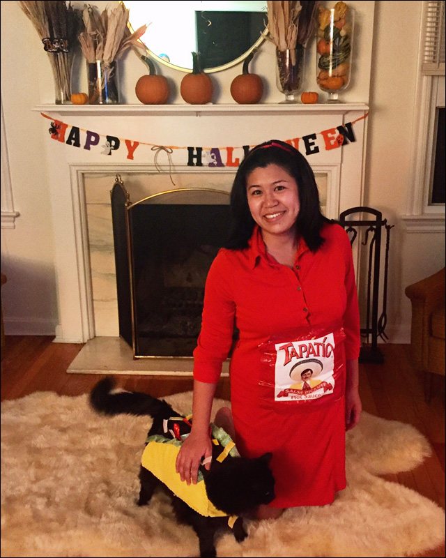manoa is spicy as tapatio with her cat beast dressed as a taco