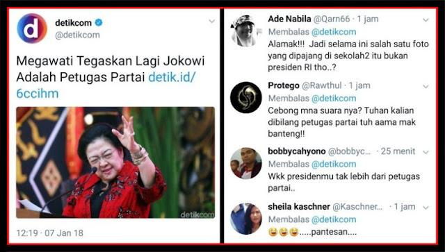 Megawati Tegaskan Lagi Jokowi Adalah Petugas Partai, Netizen: Pantesan