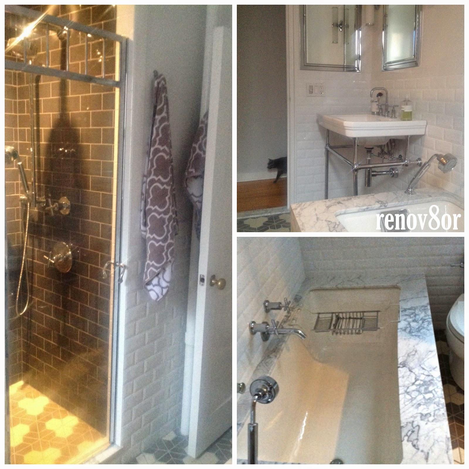 1946 yellow and grey tile bathroom - Bathroom Reveal Statuary Marble Subway Tile Modern Classic