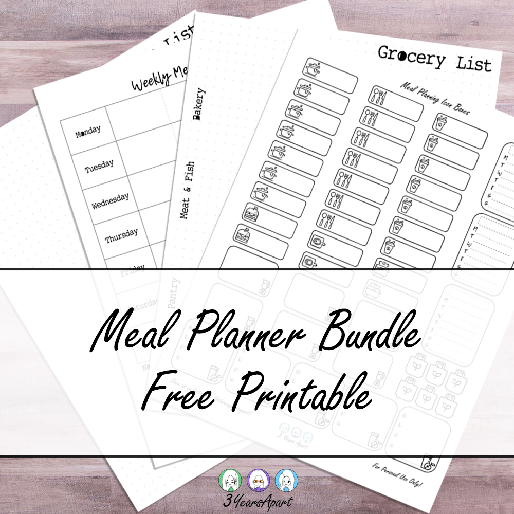 Meal Planning Bundle - Free Bullet Journal and Planner ...