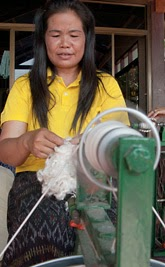 Spinning Eri silk, also known as vegetarian silk, in Thailand