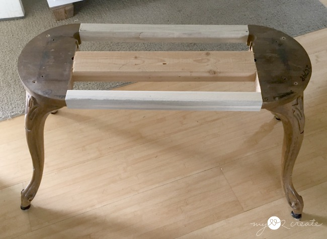 building a bench out of repurposed bar stool legs