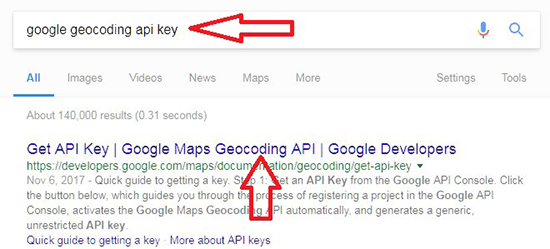 Search For API Key