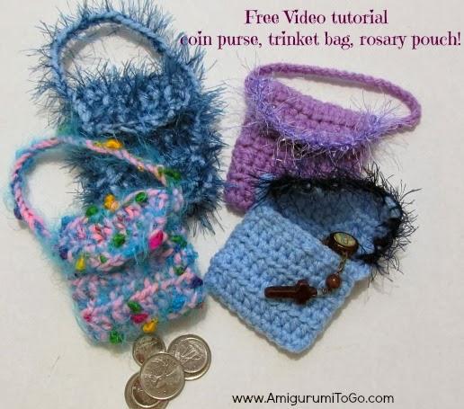 Video Crochet Coin Purse Trinket Bag Rosary Pouch Amigurumi To Go
