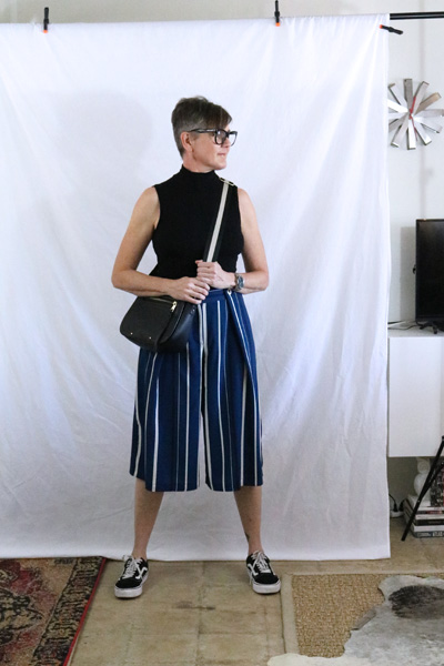 Striped Culottes Vans Fashion Over 50