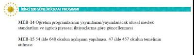 Milli Eğitim Bakanlığı 2. 100 Günlük Eylem Planı