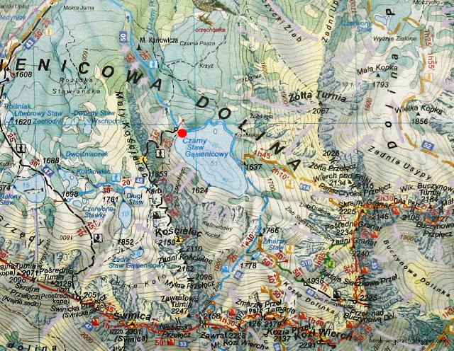 Czarny Staw Gąsienicowy na mapie