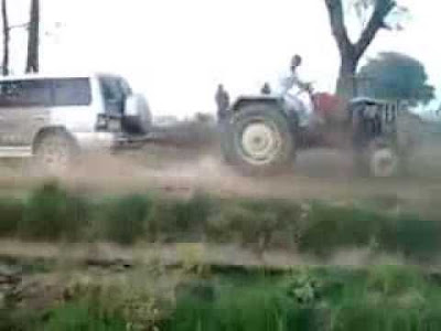 Tug-of-war  between tractors is a charming rural sport in Punjab and Haryana.   You may have seen the thrilling footage of tractors dragging each other  and even toppling over in the battle.   Now, what happens, if you replace one of the tractors with a Pajero.
