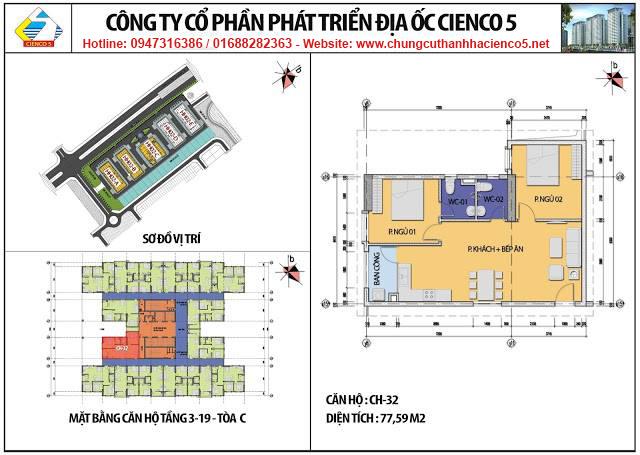 Sơ đồ thiết kế căn 32 chung cư B2.1 HH02C Thanh Hà Cienco 5