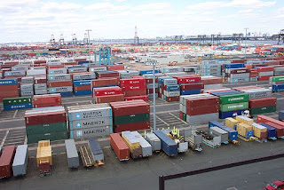 Shipping Containers at the terminal at Port Elizabeth, New Jersey - NOAA  taken  2004 June