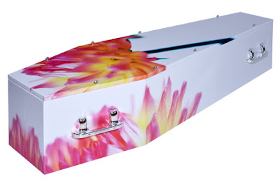 Life Art coffin - love the fresh flowers!