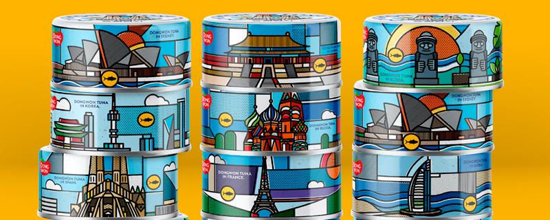 Iconos arquitectónicos en latas de atún