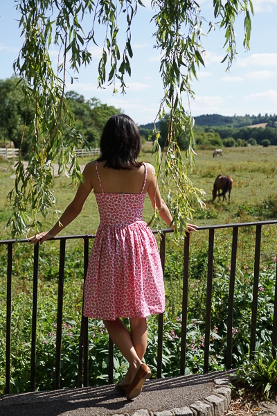 Self-drafted Free Pattern Picnic Dress Pink Back