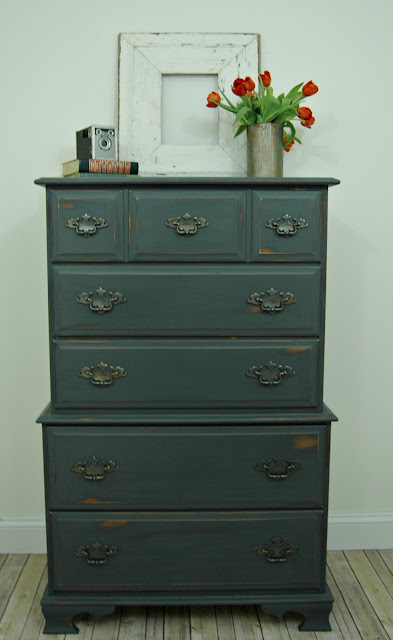 Dark gray chalk painted dresser before