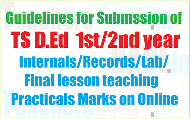Submssion of TS D.Ed 1st/2nd year internals/records/final lesson teaching Practicals Marks Online