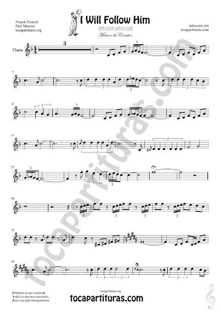 Partitura de I will follow him en Tonalidad Fácil para Clave de Sol Easy Sheet Music for beginners Treble Clefs instruments