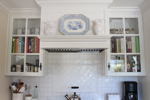 spring-tour-kitchen-mantel ironstone platter and vases