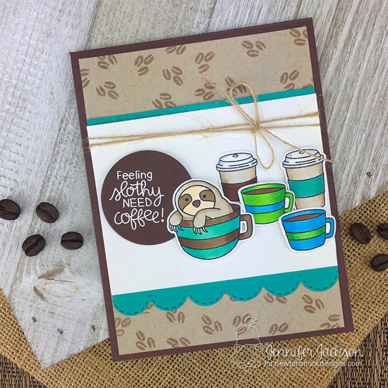 2018 National Coffee Day Blog Hop | Sloth and Coffee Card by Jennifer Jackson using Slothy Coffee Stamp Set by Newton's Nook Designs #newtonsnook #handmade