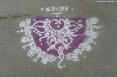 White Color Half circle Rangolis