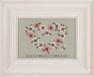 manuka blossom tea tree geraldton wax flowers heart shaped wreath floral cross stitch pattern