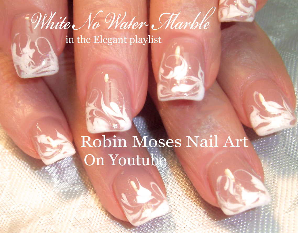Nail Art By Robin Moses Black And White No Water Marble
