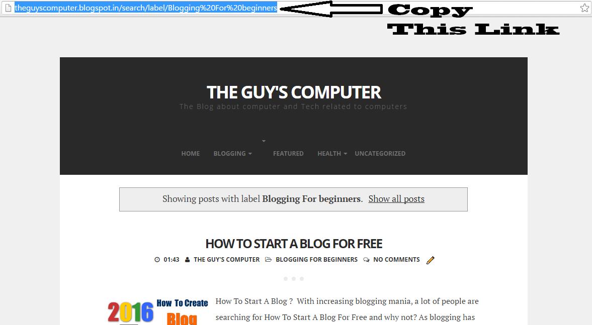 Blogger's labels link