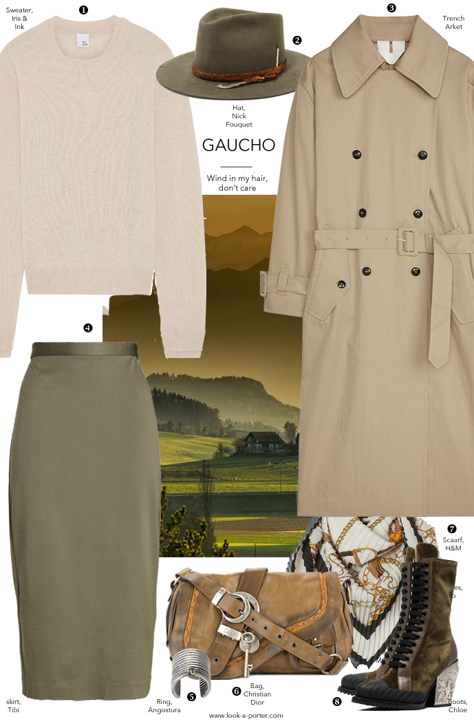 Styling khaki and beige trench, skirt and hat for a day casual work outfit with vintage Dior, Arket, Tibi, Chloe and Angostura for www.look-a-porter.com style & fashion blog / outfit ideas daily / minimal, classic style, best designer buys, wardrobe basics and statements