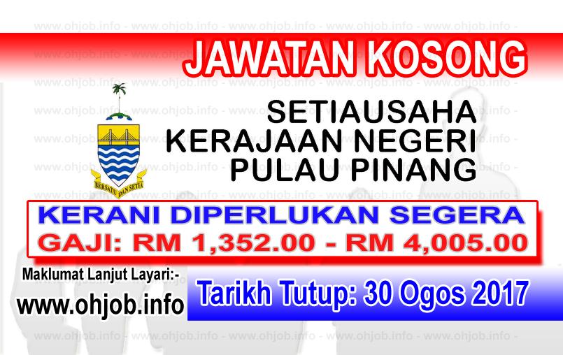 Jawatan Kerja Kosong Kerajaan Negeri Pulau Pinang logo www.ohjob.info ogos 2017