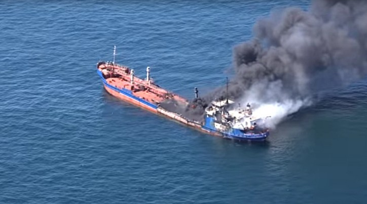 ACCIDENT (Video): Russian tanker Palflot-2 catches fire in Caspian Sea