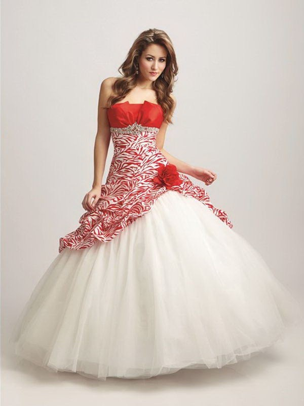 WhiteAzalea Ball Gowns  White Ball Gowns with Color Accents white ball gown with color accent