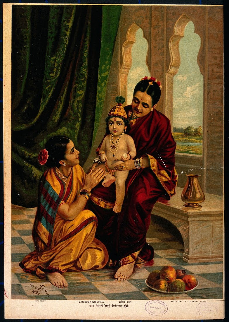 Infant Krishna sitting on Yasoda's Lap with a Female attendant - Lithograph Print, Ravi Varma Press, 1895